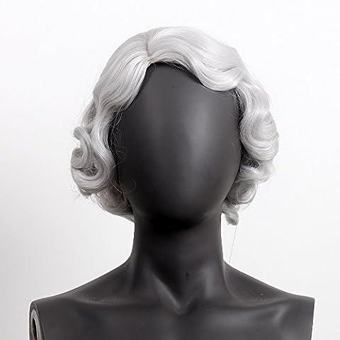 stfantasy Perücken für Frauen Schwarz Kurz gewellt hitzbeständige Kunsthaar 30,5cm 100g Full Wig peluca frei Hair Net + Clips, silber grau