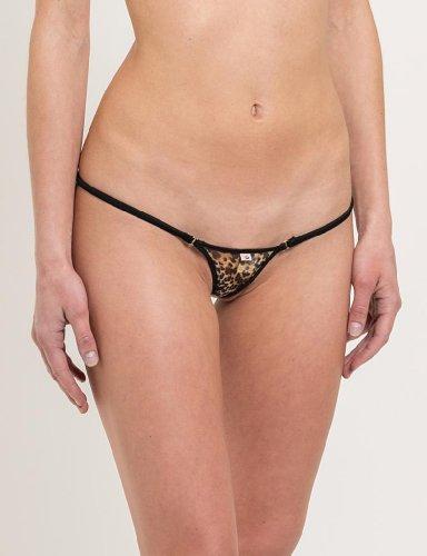 SKINSIX Damen Bikini-Set 3-tlg, mesh Leopard, bwo180 Top Triangle, bwu110 G-String & bwu150 String, das ORIGINAL Leopard