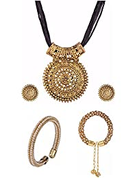 Efulgenz Jewellery Combo Of Trendy Stylish Oxidised Necklace With Earrings And Charm Bracelet For Girls And Women