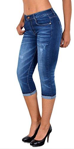ESRA Damen Capri Jeans Hose mit Risse Damen Kurze Jeans Hose Capri bis Übergröße 50# J324