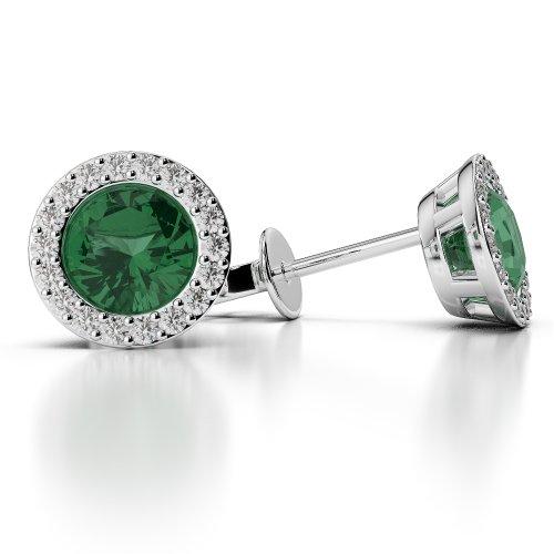 G-H/VS 0,26CT sertie de diamants ronds Forme Émeraude et boucles d'oreilles en platine 950Ager-1075