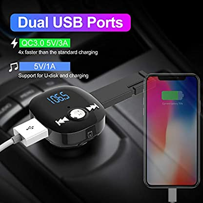 Clydek-Bluetooth-FM-Transmitter-V50-Bluetooth-Autoradio-Adapter-mit-Freisprechfunktion-Dual-USB-und-QC30-Schnellladung-Musik-Player-Untersttzung-USB-Laufwerk-und-TF-Karte