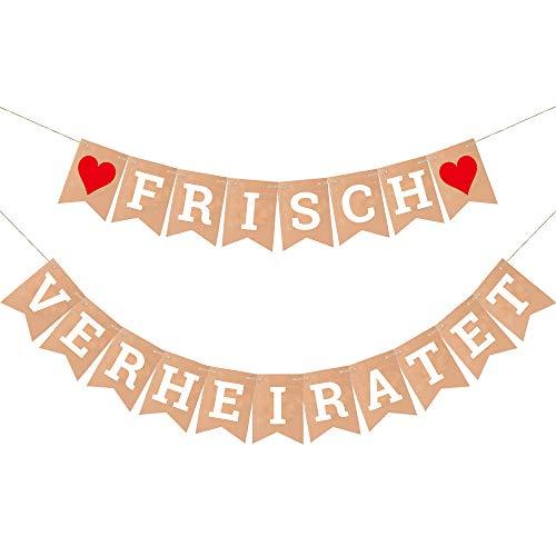 atet Banner Dekoration für Hochzeit Brautdusche Just Married Girlande mit 19Stk Wimpeln und 3M Jute Seil*2 ()