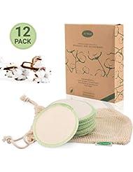 Io Nova waschbare Abschminkpads - 12 wiederverwendbare Reinigungspads aus 100% Baumwolle mit Wäschebeutel, Nachhaltige Gesichtsreinigung, Wattepads