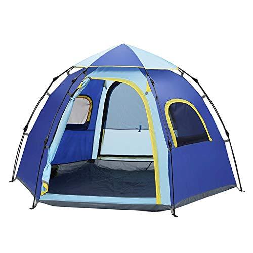 CATRP Marke Hexagonal Hydraulisches Zelt Automatik Pop-up Groß 4-5 Personen Doppelschicht Regenfest Camping Zelt,Blau