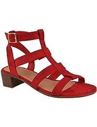 2ae429b0aee82 Fashion Thirsty da Donna Nuove Tacco Basso e Largo Sandali Estivi con  Cinturino Scarpe a Punta Aperte…