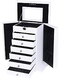 Songmics XXL Boîte à bijoux bijoux et cosmétique 36,5 x 30 x 17,5 cm (L x l x h) blanc avec tiroir JBC06W
