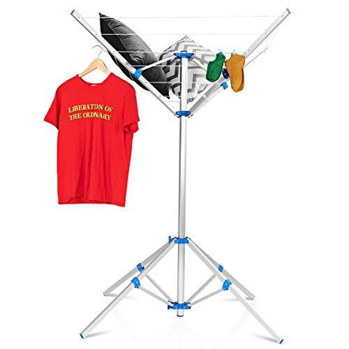 COSTWAY Wäschespinne, Wäscheschirm mit Füßen, Wäscheständer aus Aluminium, mit 16m Wäscheleine, klappbar