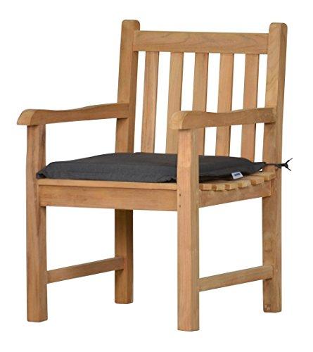 2 x Stuhlauflage aus lichtechtem Dralon – 50 x 45cm, anthrazit grau  Waschbar  Hoher Sitzkomfort...