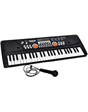 Toyshine Piano with USB Power Option (USB Not Included) and Microphone, Black
