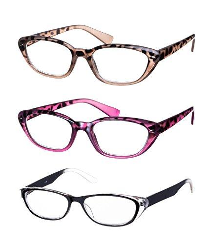 Lesebrillen im 3er-Set / Brillenform Schmetterling Brillengestell aus Kunststoff + 3.5