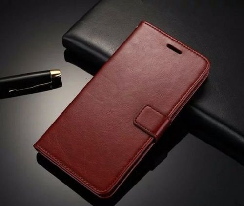 D-kandy VINTAGE STYLISH PU LEATHER FLIP WALLET COVER BACK CASE FOR MOTOROLA MOTO Z PLAY - BROWN