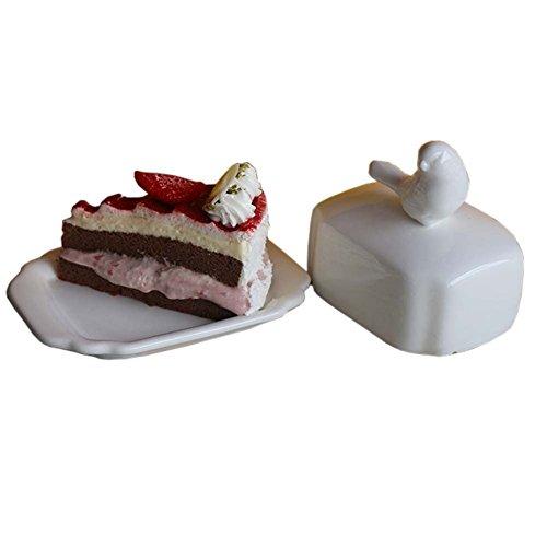 Creative Design Beurre Porcelaine Plat garde Beurre décoratif avec couvercle animal couverture, Oiseau
