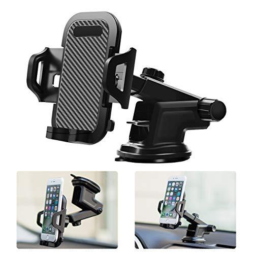 Favoto Soporte Móvil Coche Universal para Parabrisas Salpicadero Rejillas del Aire con Ventosa Ajustable Giro 360 Grados Soporte de Fibra de Carbono para Smartphones Dispositivos GPS Negro