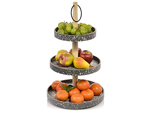 Bluespoon Etagere aus Holz mit 3 Ebenen | ØxH: 29x50 cm | in exklusiver Beton-Optik | Perfekt geeignet für die dekorative Aufbewahrung von Obst
