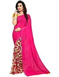 Anand Sarees Faux Georgette Printed Pink Color With Blouse Piece ( 1436)
