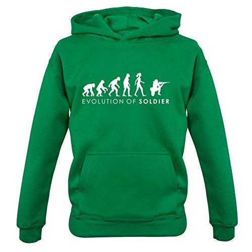 Evolution of Woman - Soldatin - Kinder Hoodie/Kapuzenpullover - Irisch Grün - S (3-4 Jahre) (Militär-kleinkind-t-shirt)