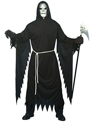 Halloween Kostüm Tod Totenkopfmaske Horror Robe Sensenmann Größe L (Kapuzen-horror Robe)