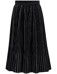 302016840d Deawecall Falda Plisada de Terciopelo Elegante Falda de Las Mujeres Falda  Midi Talle Alto de Las