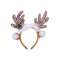 Amosfun Christmas Reindeer Headband Sequins Feather Animal Antler Ear Hair Hair Headwear Hat Headdress For Christmas Celebration Costume Cosplay Accessory (Coffee)
