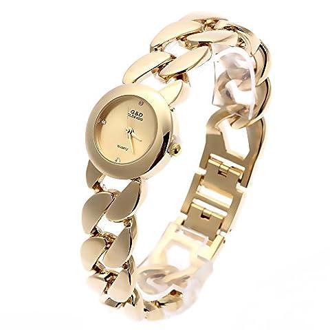 Sheli Womens Luxury Gold Tone Waterproof Stainelss Steel Quartz Bangle Watch