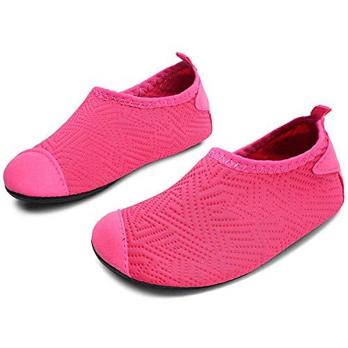 L-RUN Little Kids Wasserschuhe Barfuß Slip-on Aqua Socke Dot_Rose 7-7.5 = EU 24-25 (On Kids Slip)