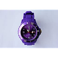 PURPLE I-STYLE QUARTZ RUBBER SILICONE SPORTS WATCH UNISEX WITH DATE