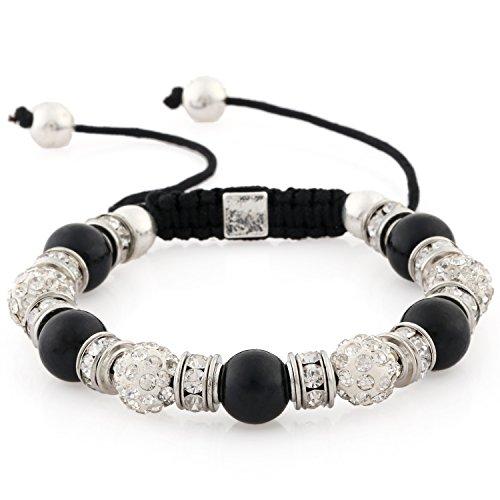 Morella® Damen Armband Schmucksteine und Zirkonia Strass verstellbar silber - schwarz