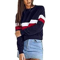 Geili Damen Herbst O-Ausschnitt Langarm Pullover Bluse Gestreift Sweatshirt Frauen Bauchfreie Sweatjacke Crop... preisvergleich bei billige-tabletten.eu