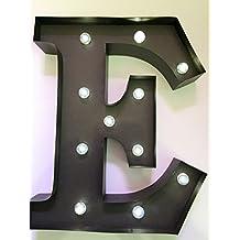 HLS LED - Letra E de Metal con luz LED - 33cm (13