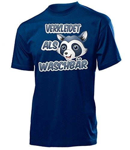 (Verkleidet als Waschbär 5273 Karneval Fasching Tier Kostüm Waschbärenkostüm Herren T-Shirt Erwachsene Faschingskostüme Karnevalskostüme Navy L)