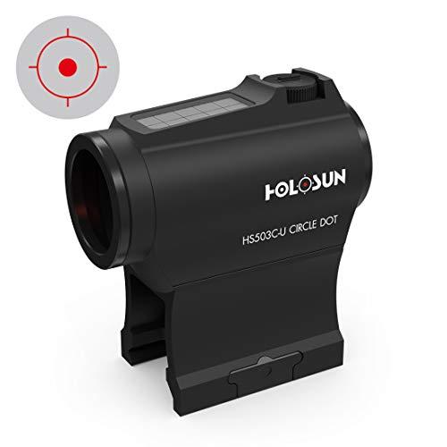 Holosun HS503C-U Rotpunkt Visier, wechselbares 2MOA Punkt, 65MOA Kreis Absehen, Solarzelle, schwarz, Picatinny/Weaver Schiene, Jagd, Sportschießen, Softair, Tactical Micro red dot Sight - 70127355 -