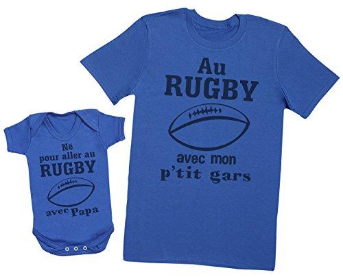 Zarlivia Clothing Né pour Aller au Rugby avec Papa - Ensemble Père Bébé Cadeau - Hommes T-Shirt & Body bébé - Bleu - L & 6-12 Mois