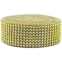 Mackur Rhinestone plástico Brillantes Cinta Glitz Acrylic Rhinestone Diamante Banda Banda Decorativa para Boda cumpleaños decoración 1Pieza, Dorado, 1 pcs
