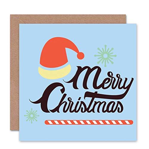 Merry Christmas Santa HAT Retro BLANK Christmas Card ()