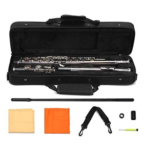 AsmuseTM Flöte mit Koffer und Zubehör Querflöte Kupfernickel Überzogene Silberne 16 Löcher C Tonart