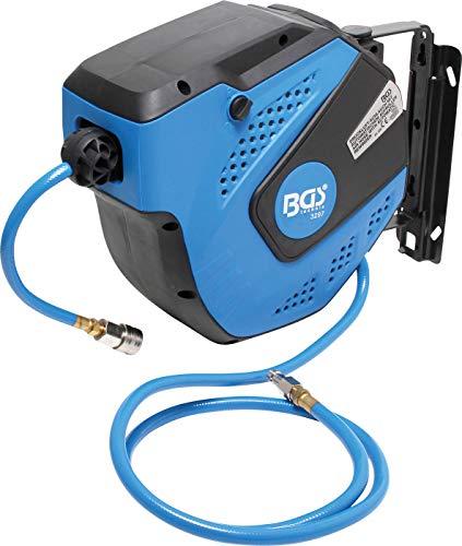 BGS 3297 | Druckluftschlauch mit Aufroller | automatisch | 10 m + 1,5 m Zuleitung | 180° schenkbar | inkl. Montagehalter | Schlauchaufroller