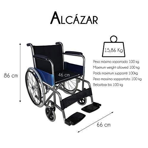 41zYEpQPlLL - Mobiclinic Silla de Ruedas Plegable | autopropulsable | Ancho Asiento 46 cm | Negro | Alcázar | Mobiclinic