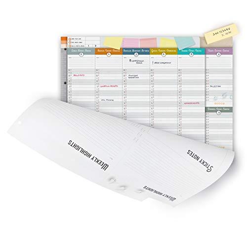 IMUMI Planner settimanale perpetuo da tavolo - fronte e retro - fori archiviazione in raccoglitore ad anelli - carta 120g/mq - con blocchetto fogli adesivi riposizionabili - 3 lingue - 40,5x29,7cm