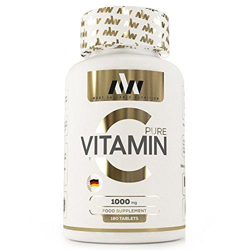 MVN® Vitamin C | 1000 mg | Hochdosiert | Pomeranzen-Fruchtextrakt | Made in Germany | 180 Tabletten -