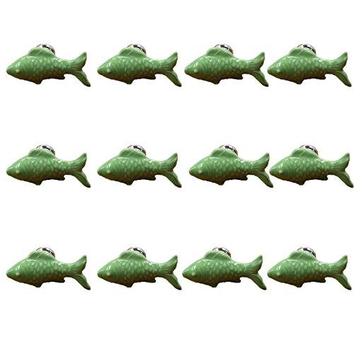 FBSHOP(TM) 12PCS Grün Nette Fisch Form Keramik Knöpfe, Süßigkeit-Farben Türknauf für Küche Schubladentür ,Schränke, Schubladen, Schraenke, Kommode Bücherregal usw Baby-Kind-Kindermöbelgriffe Pulls mit Schrauben