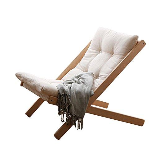 XIAOMEI Moderne Holz Klappstuhl,gepolsterte Nordische Freizeit Hocker Liegefunktion Japaner Faul Sofa Lounge Terrasse Stuhl Gartenliege Balkontür Support Für 300 Lbs-beige-1