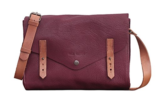 L'INDISPENSABLE Pflaume Büffelleder Handtasche Vintage Style PAUL MARIUS