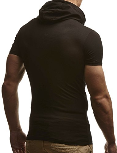 LEIF NELSON Herren T-Shirt Hoodie Kapuzenpullover Longsleeve Kurzarm Shirt Sweatshirt Sweatshirt LN135 Schwarz