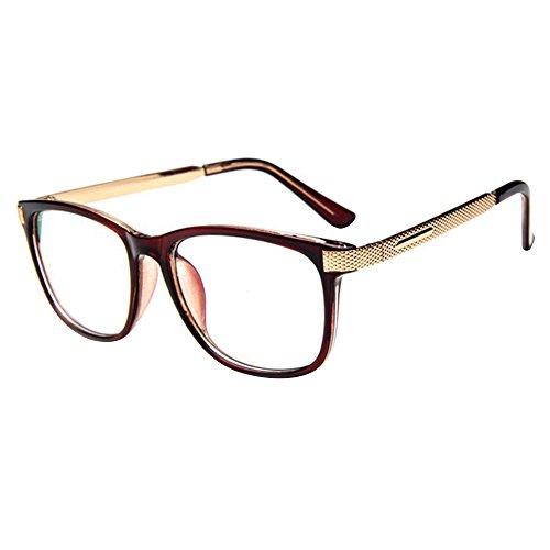forepin Brille Metall reg; Klare Linse Brille Klassisch Damen Fensterglas Ohne Stärke Nerdbrille Metallgestell Brillenfassung mit Nasenpad und Federbügelscharnier