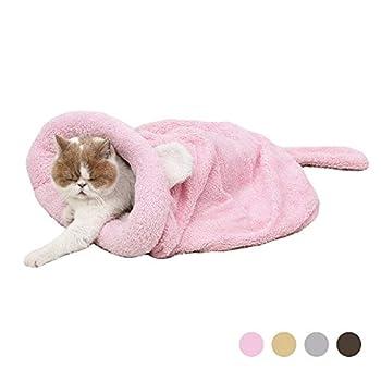 Eono Essentials Sac de Couchage pour chat en Molleton Doux, Dôme Lit de Chat chaud et lavable, Tapis Couverture pour chat chaton Rose