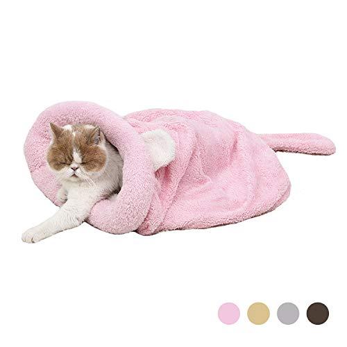 Eono by Amazon - Katze Schlafsack Haustier Beutel Weich Warm Waschbare Kätzchen Bett Winddicht Sack Kuschelig Tasche Decken Matte Für Kitty Kleine Tiere Rosa