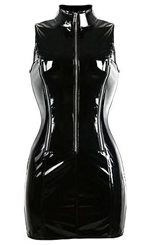 Damen Minikleid Vollbrust Corsagenkleid Spitzen Bustier wetlook lackkleid mit Reißverschluss vorne Kunstleder