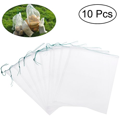 Nylon-mesh-material (UEETEK UEETEK 10 stücke 25 * 35 cm Kordelzug Nylon Mesh Filter Medien Tasche für Aquarium Garten Teich)