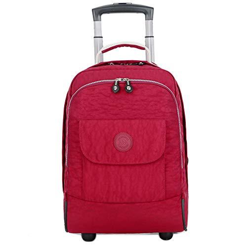 C-Xka Rolling Schultasche, Rad-Laptop-Rucksack College-Rucksack, Business-Rucksack, Reiserucksack Roll Roll-Dekompressions-Rucksack (Farbe : Red)